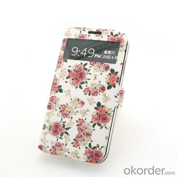 Front Hollow Wallet Pouch Luxury PU Leather Stand Case Cover for Samsung Galaxy S4 (I9500) Flower