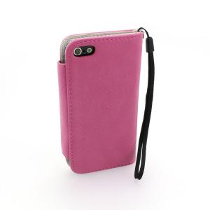 Wallet Pouch Case Cover For iPhone5/5S Lichee Pattern PU Leather Rose