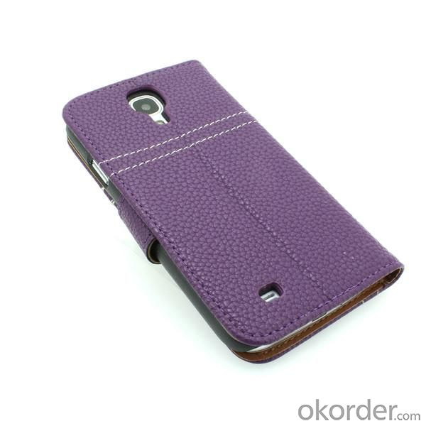 Luxury PU Leather Wallet Pouch For Samsung Galaxy S4 (I9500) Stand Case Cover Purple