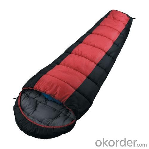 High Quality Outdoor Product Polyester Red And Black Sleeping Bag