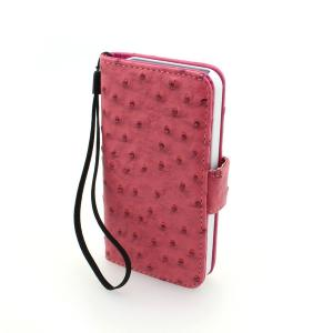 For iPhone5/5S Wallet Pouch Ostrich Pattern PU Leather Stand Case Cover Rose