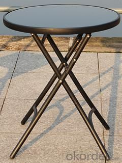 Hot Selling Outdoor Furniture Classical Black Steel & Tempered Glass Fold Table
