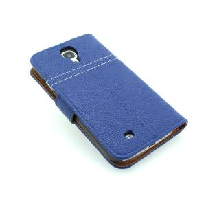 Stand Case Cover for Samsung Galaxy S4 (I9500) Wallet Pouch Luxury PU Leather Blue