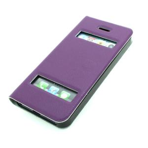 From China Factory For iPhone 5 5s 5g 5gs Faux Cow Leather S View Open Window Auto Wake Sleep Smart Cover Case Purple All Colors