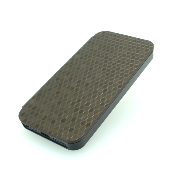2014 New For iPhone 5 5s 5g 5gs Luxury Snake Skin PU Leather Case 360 Degree Rotating Case Cover Dark Grey