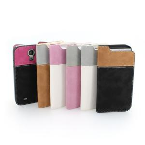 2014 Hot Sale For Samsung Galaxy S4 I9500 Fashion Leather Case Cover With Cedit ID Card Slot Of Contrast Multi Colors