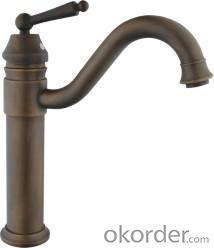 Single Handle Bathroom Faucet Antique Color  Spout Shape Basin Mixer