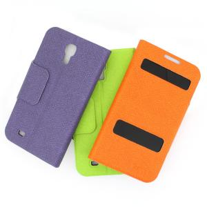 Front Hollow Luxury PU Leather Case Cover for Samsung Galaxy S4 (I9500) Orange