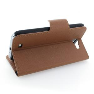 Wallet Pouch Luxury PU Stand Leather Case Cover for Samsung Galaxy Note 2/3 Brown