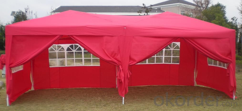 Hot Selling Outdoor Market Umbrella Full Iron Folding Red Tent