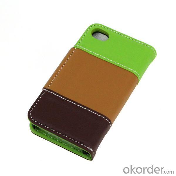 Colourful Lichee Pattern PU Leather Case For iPhone4/4S Wallet Pouch Cover