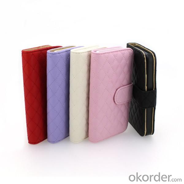 For iPhone5/5S Wallet Pouch Luxury PU Leather Stand Case Cover Purple