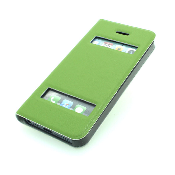 China Factory For iPhone 5 5s 5g 5gs Designer Business Case S View Flip Case Auto Sleep Wake Smart Covers Green All Colors