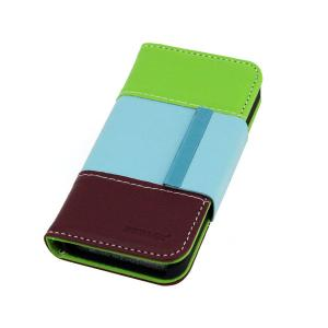 For iPhone4/4S Lichee Pattern PU Leather Wallet Pouch Case Cover Colourful