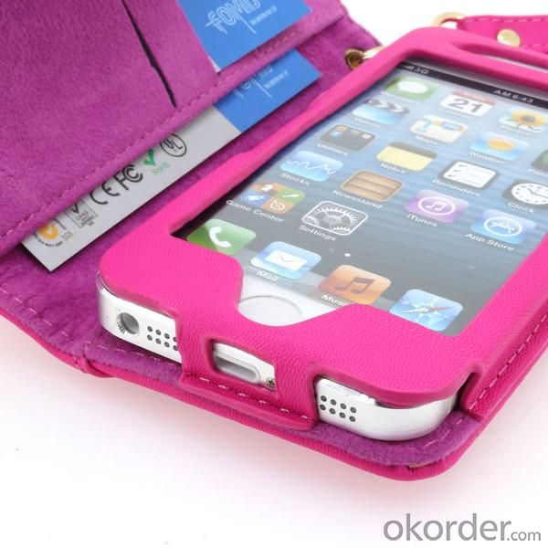 2014 New For iPhone 5 5S 5G 5GS Wallet Case Smooth PU Leather Flip Case Cover With ID Credit Card Slot Pink