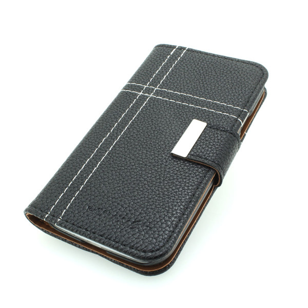 High Quality Wallet Pouch Luxury PU Leather Stand Case Cover for Samsung Galaxy S4 (I9500) Black