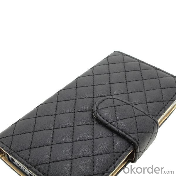 Luxury PU Leather for iPhone5/5S Wallet Pouch Stand Case Cover Black
