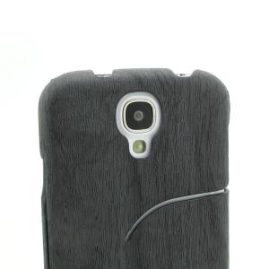 2014 Hot Sale For Samsung Galaxy I9500 S4 Luxury Tree Texture Wood Grain PU Leather Stand Case Black All Colors