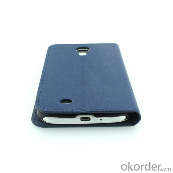 Stand Case for Samsung Galaxy S4 (I9500) Wallet Pouch Luxury PU Leather Cover Blue