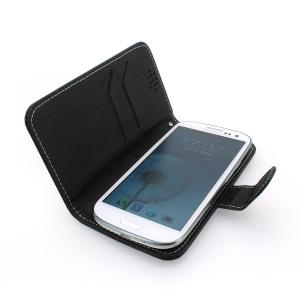 Hot Sale Wallet Pouch Luxury PU Leather Case Cover for Samsung Galaxy S4 (I9500) Black