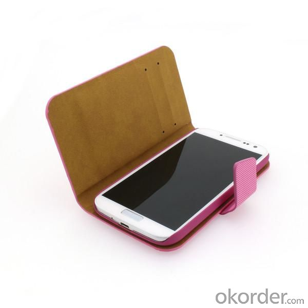 2014 Hot Sale For Samsung Galaxy S4 I9500 Cross Pattern Case Cover With ID Credit Card Slot Holder Hot Pink