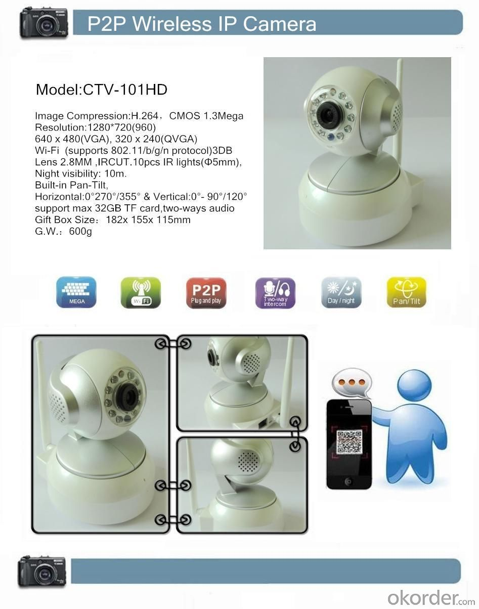 P2P Wireless IP Camera-CTVCAM HD Pixels CMOS 1.3Mega CTV-101HD