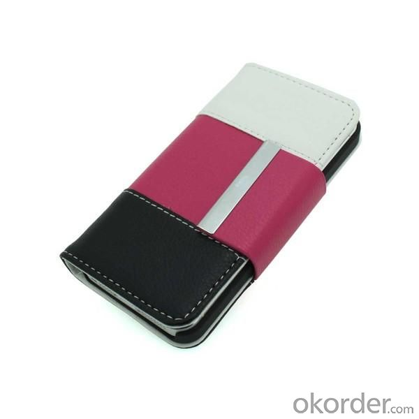 Lichee Pattern PU Leather Case Cover for iPhone4/4S Wallet Pouch Colourful