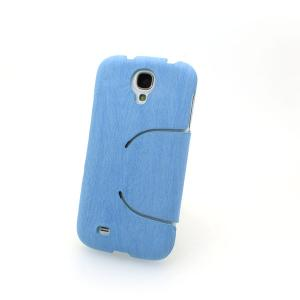 China Supplier Retro Wood Texture PU Leather Stand Case For Samsung Galaxy S4 I9500 Tree Grain Blue All Colors