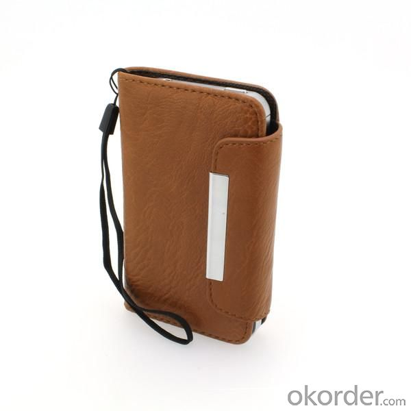 Wallet Pouch Lichee Pattern PU Leather Stand Case Cover for iPhone4/4S Brown