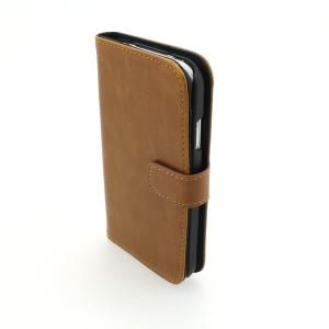 Wallet Pouch Luxury PU Leather Upstanding Book Style Case Cover for Samsung Galaxy S4 (I9500) Brown