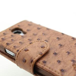 Wallet Pouch Ostrich Pattern PU Leather Stand Case Cover for Samsung Galaxy S4 (I9500) Brown