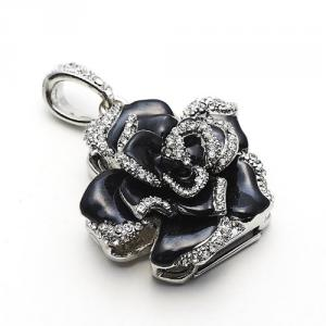 2GB Elegant Crystal Rose Jewelry USB Flash Memory Drive Black