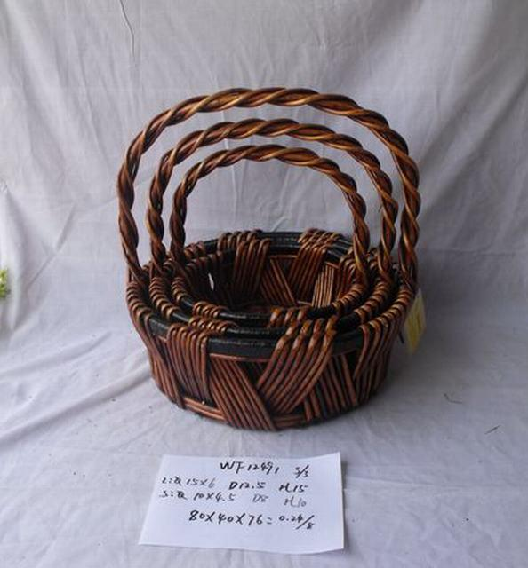 Hot Sale Home Organization Round Shape Home Storage Basket With Long Handle