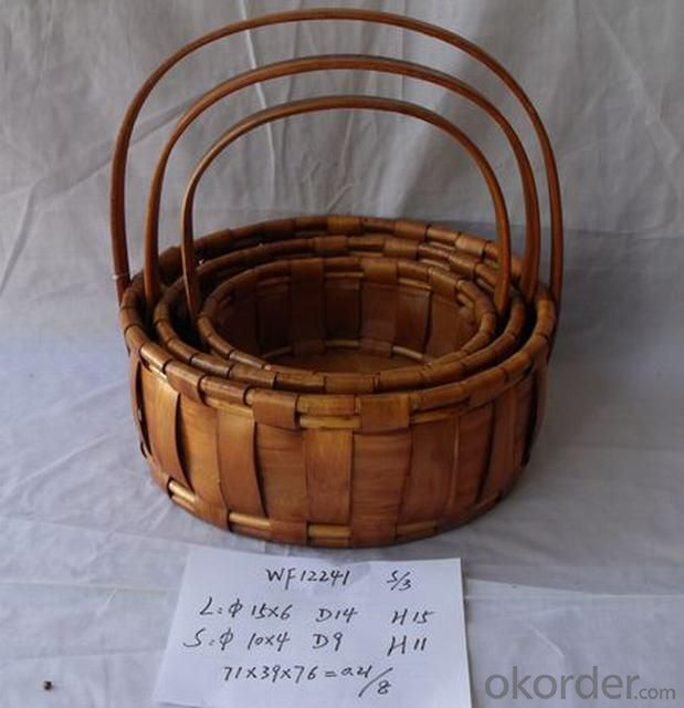 High Quality Hand Made Round Shape Home Storage Basket Woven Basket With Handle