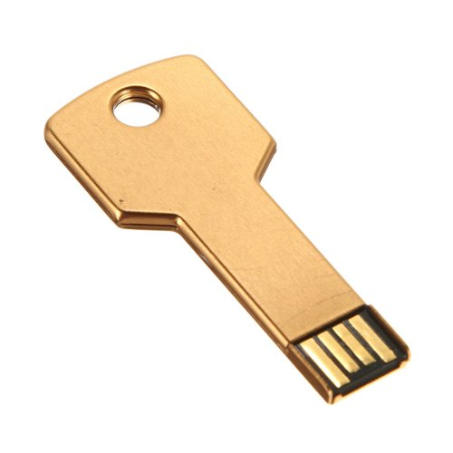 2GB Metal Key Shaped USB Flash Drive Stick Golden