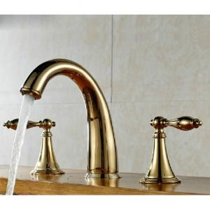 Gold Plated Two Brass Handle Faucet
