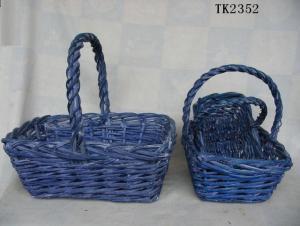 Hot Sale Home Storage Set Of Three Antique Blue Willow Basket