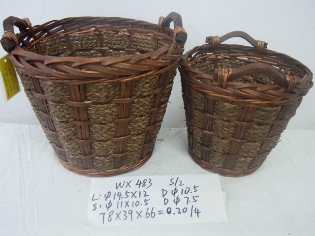 Home Organization Hand Made Round Shape Home Storage Basket 2Pcs/Set