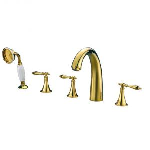 Gold Plated Bathroom Sink Faucet Mixer Two Handles