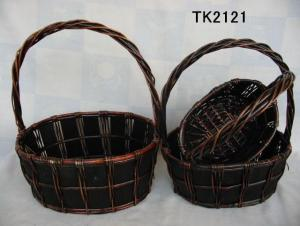 Hot Sale Home Storage Set Of Three Oval Willow Basket