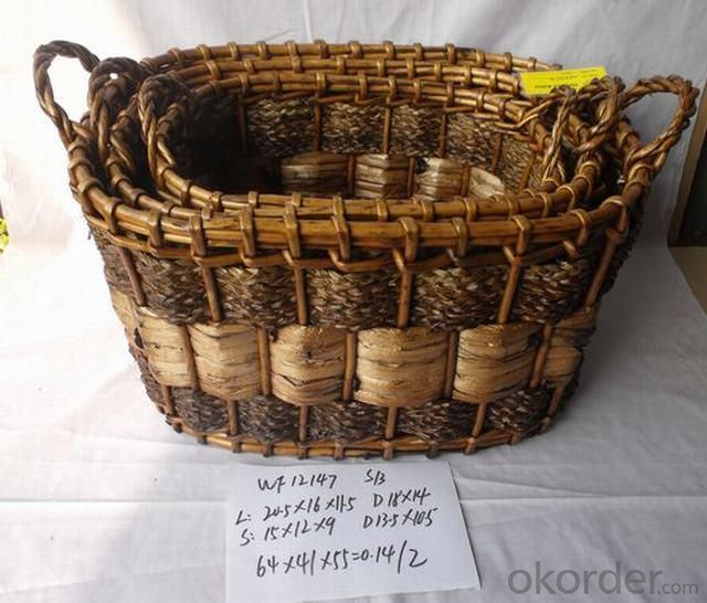 High Quality Home Storage Set Of Three Oval Woven Basket