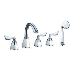 Chrome Plated Widespread Lavatory Faucet With Brass Shower