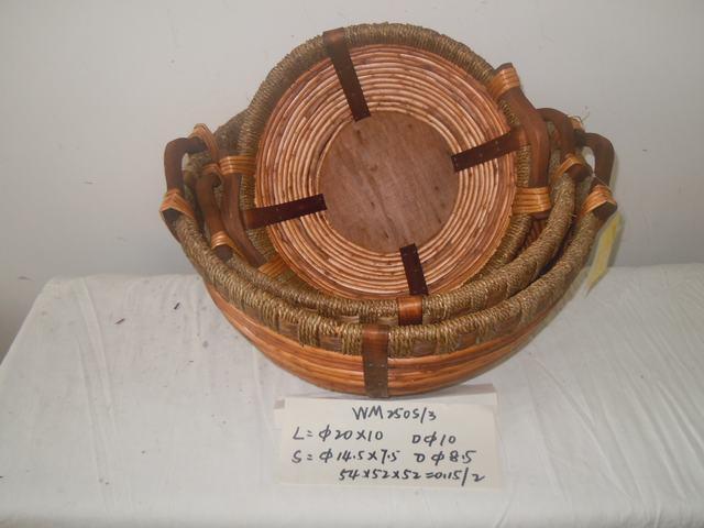 Home Organization Hand Made Oval Woven Basket Home Storage Basket 3Pcs/Set