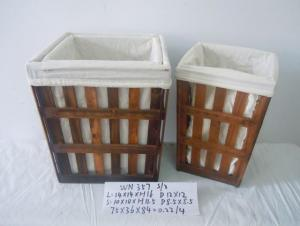 Home Organization Hand Made Set Of Three Wooden Basket Home Storage Basket