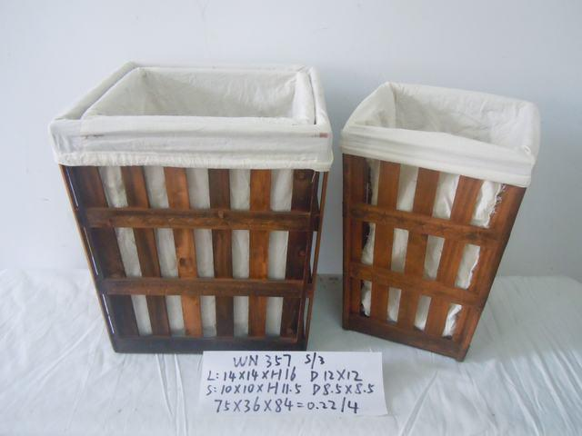 Home Organization Hand Made Set Of Three Wooden Basket Home Storage Basket