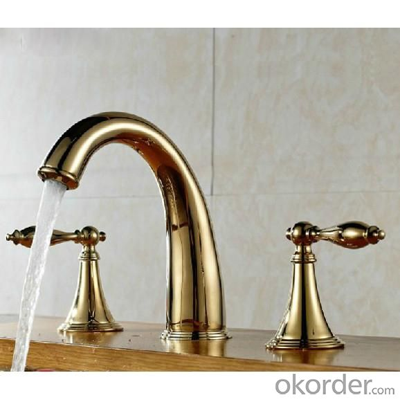 Good Quality Gold Plated Brass Faucet With Two Hanlder