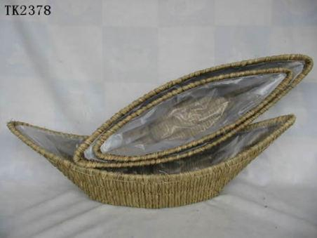 High Quality Hand Made Gold Shape Home Storage Basket With Plastic Liner