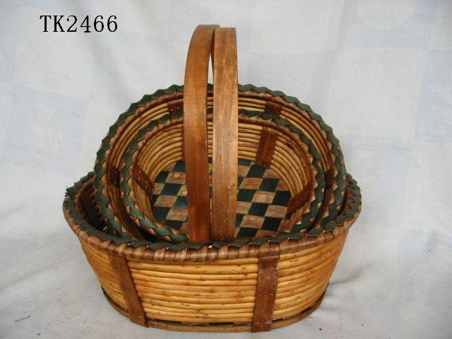 High Quality Home Storage Set Of Three Willow Basket With Handle