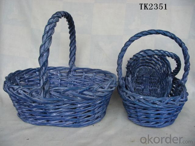 Hot Sale Home Storage Set Of Three Antique Blue Oval Willow Basket