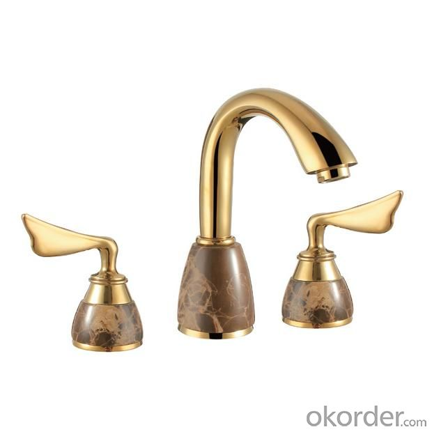 Antique Brass Body Basin Faucet With Two Handles